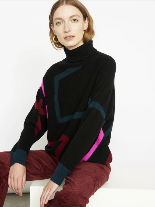 Cocoa Cashmere Abstract Star Print Black Sweater