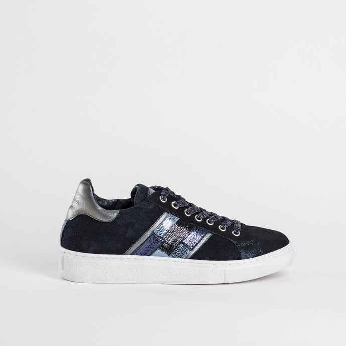 Reqins Navy Leather Trainers