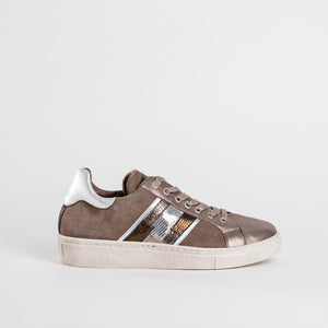 Reqins Taupe Leather Trainers