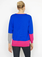 Cocoa Cashmere Electric Blue & Pink Sweater
