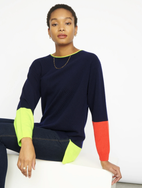 Cocoa Cashmere Navy & Lime Boxy Sweater