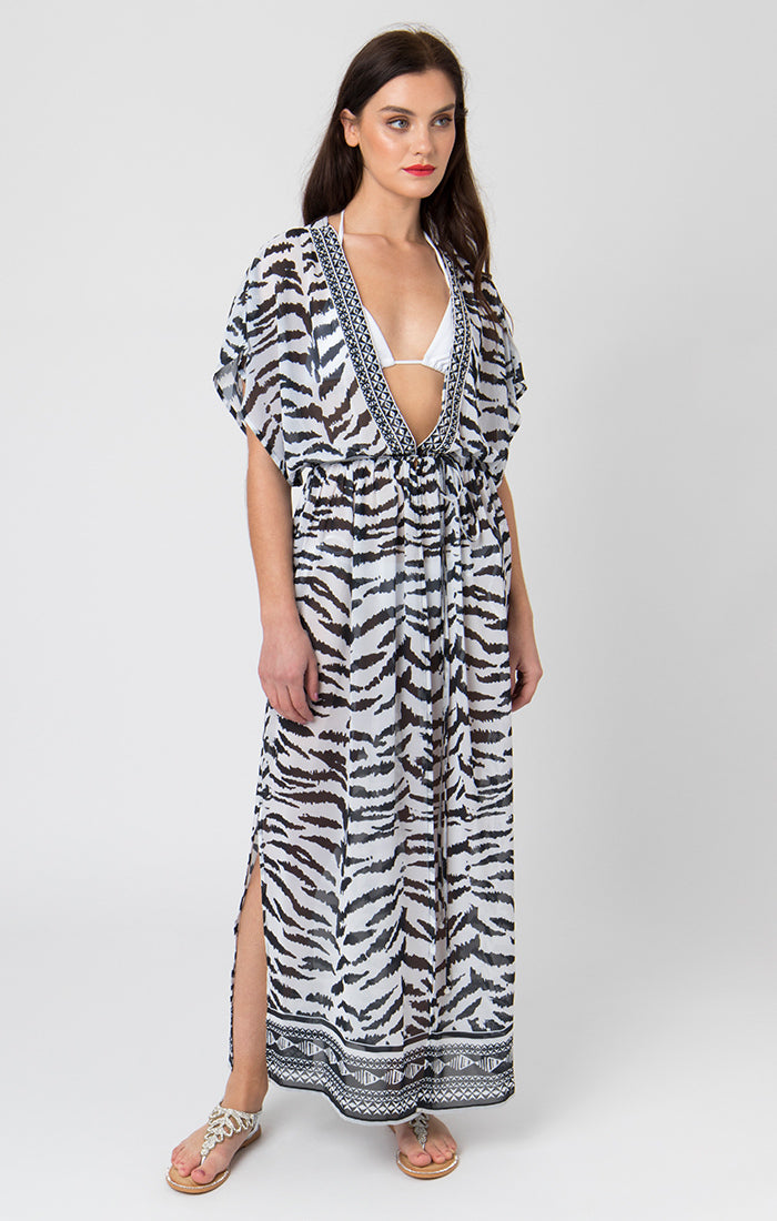 Pia Rossini Yasmina Maxi Dress - Black/White - YAS01435
