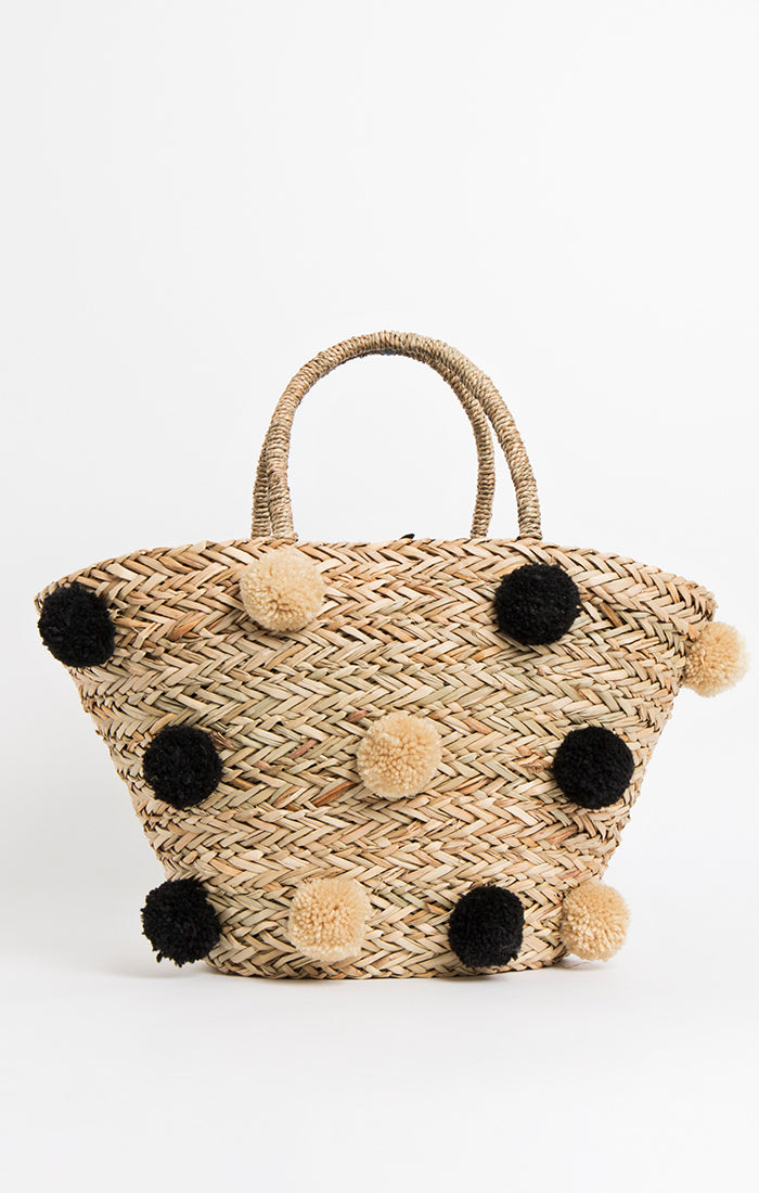 Pia Rossini Zoey Basket Bag - Natural/Black - ZOE01369