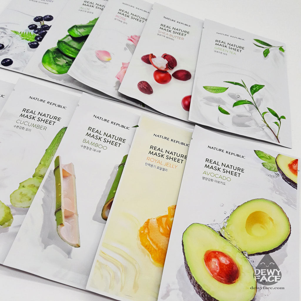 NATURE REPUBLIC Real Nature Mask Sheet Set of 10 (*newly updated packaging)