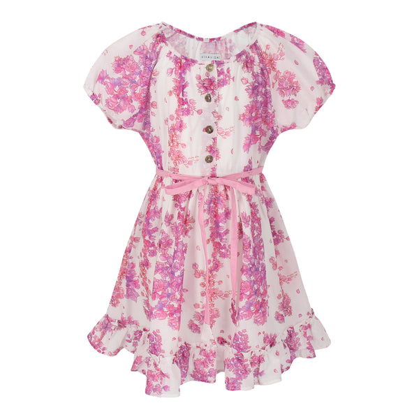 Amelia Dress Bougainvillea Flowers