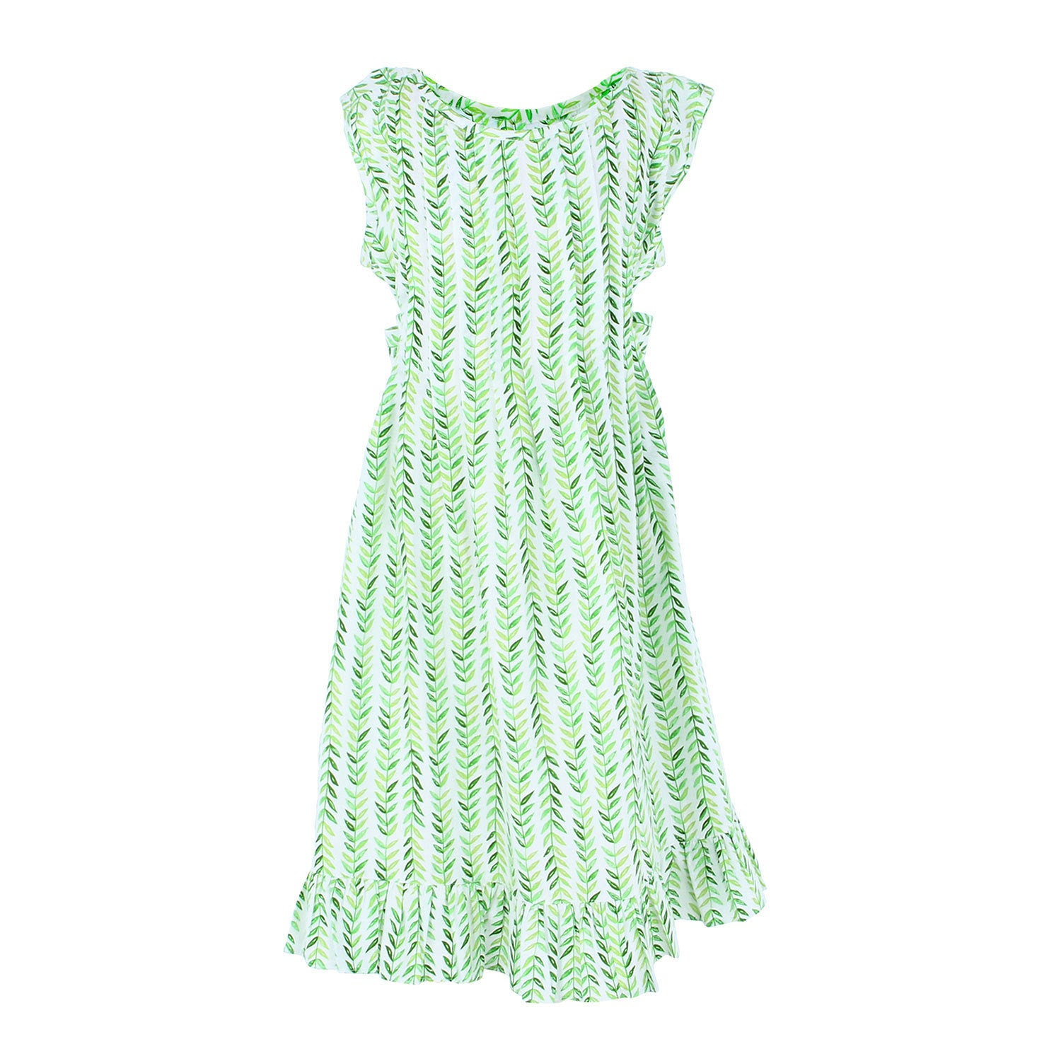 Indie Dress - Green Leaves
