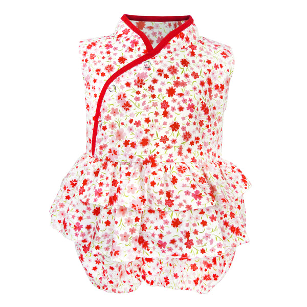 Bonnie Baby Girl Romper - Peach Flower