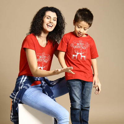 Merry Christmas Reindeer Print , Mom And Son Tees