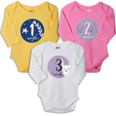 1-2-3, Set Of 3 Assorted Bodysuits For Baby.