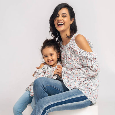 Flare Top Cold Shoulder Dress For Mom & Daughter