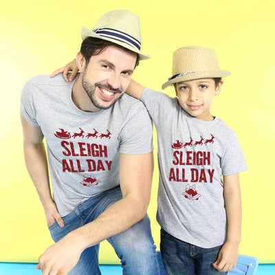 Sleigh All Day Dad And Son Tees