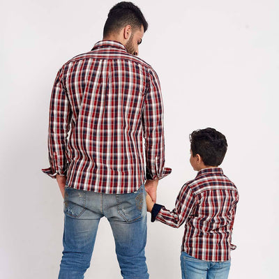Red And Chequered, Matching Shirts For Dad And Son
