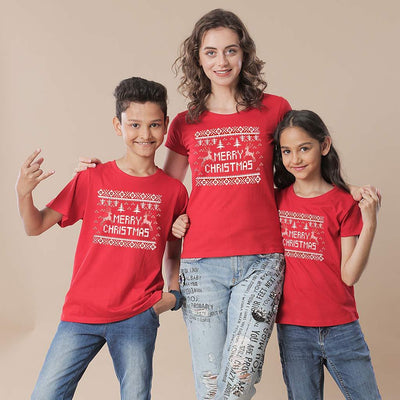 Festive Christmas Mom, Son And Daughter Tees