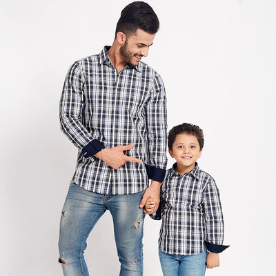 Black And Chequered, Matching Shirts For Dad And Son