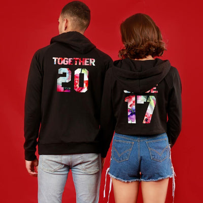Together Since, Matching Black Hoodie For Men And Crop Hoodie For Women