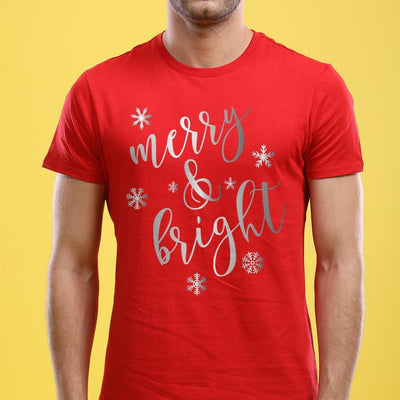 Festive Merry And Bright, Single Tee For Men