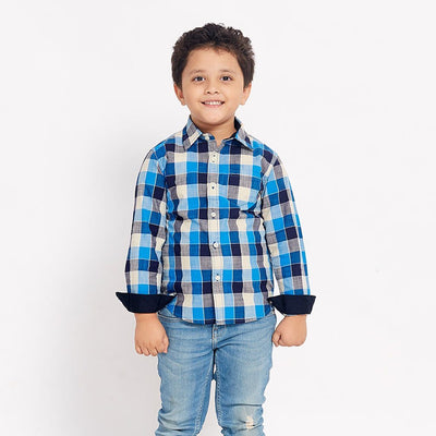 Blue And Chequered, Matching Shirts For Dad And Son