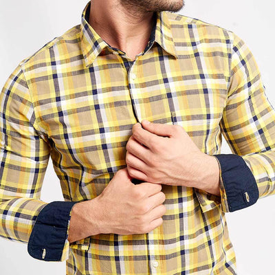 Yellow And Chequered, Matching Shirts For Dad And Son