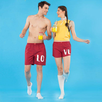 Love Couple Similar Red Cotton Boxers