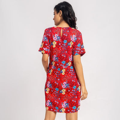 Floral Printed Midi Dress For Mom & Daughter
