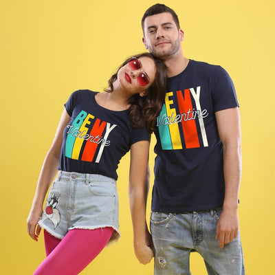 Be My Valentine! (Navy Blue) Matching Couple Tees