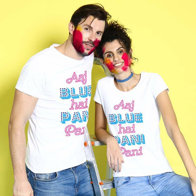 Aaj Blue Hai Pani Pani Holi Couple Tees