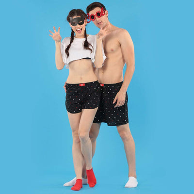 Heart Print Twining Black Couple Boxers