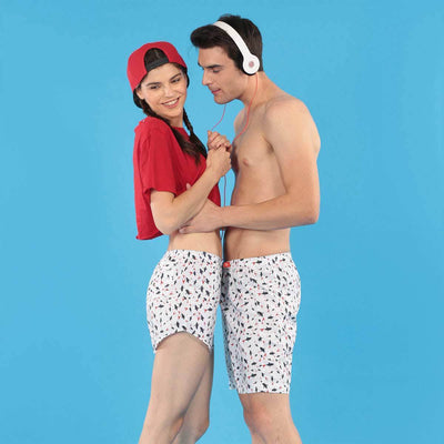 Abstract Print White Matching Couple Boxers