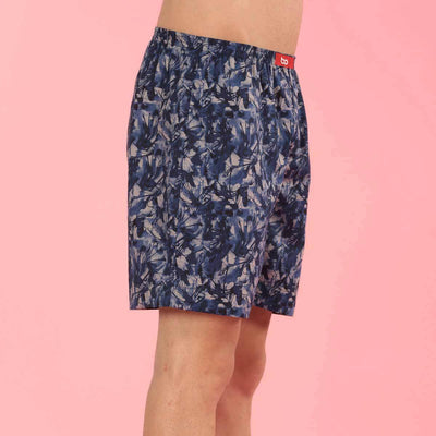 Abstract Print Similar Blue Couple Boxers