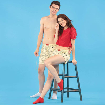 Quirky Print Lime Yellow Cotton Matching Couple Boxers