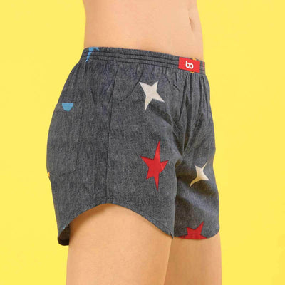 Moon & Star Print Denim Matching Couple Boxers