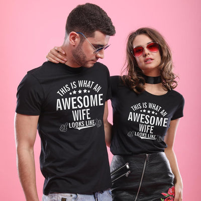 Awesome Husband And Wife,Matching Couple Tees