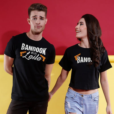 Bandook, Matching Couple Crop Top & Tee