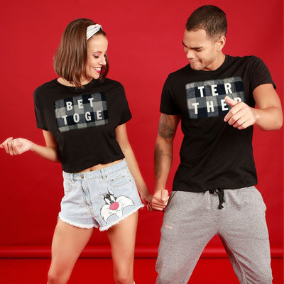 Better Together Grey Plaid, Matching Couple Crop Top And Tee