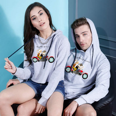 Bikers Forever, Matching Hoodie For Men And Crop Hoodie For Women