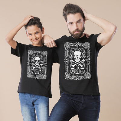 Black Little/Big Trouble Father-Son Tees
