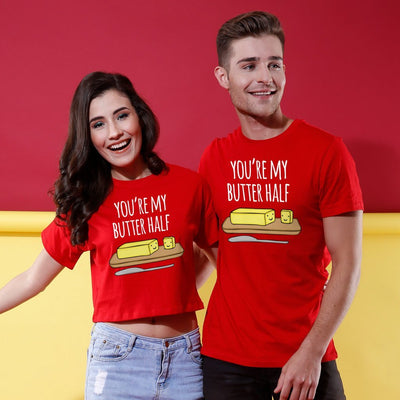 You Are My Butter Half Couple Crop Top & Tee