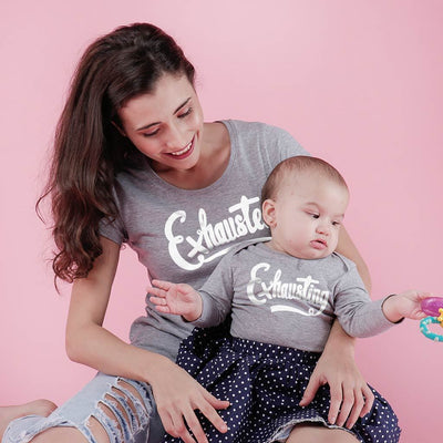 Exhausted/ Exhausting, Matching Tee And Bodysuit For Mom And Baby (Girl)