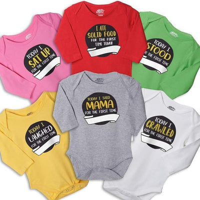 My Milestones, Set Of 6 Assorted Bodysuits For The Baby