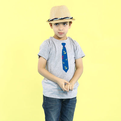 Grey Melange Tie Print Father-Son Tees
