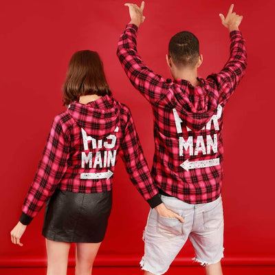 His Main/ Her Man (Woven Pattern), Matching Hoodie For Men And Crop Hoodie For Women