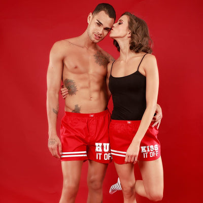 Hug It Off / Kiss It Off, Matching Red Couple Boxers