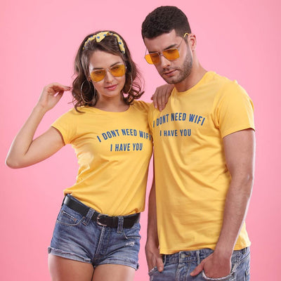 Better Than WiFi (Yellow), ,Matching Couple Tees