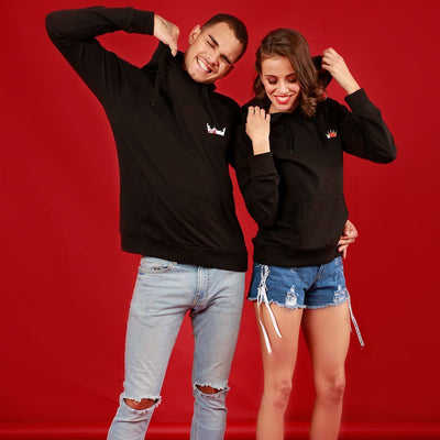 King And Queen (Black), Matching Hoodies For Couples