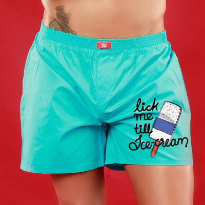 Lick Me Till Ice-cream, Matching Turquoise Blue Couple Boxers