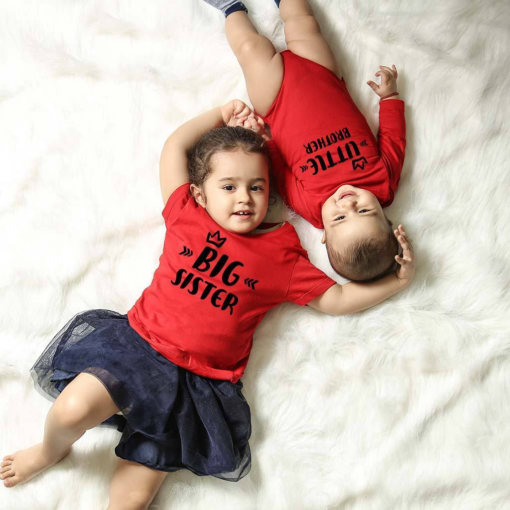 Big Sister Little Brother Matching Tee And Bodysuit For Sister And B Bonorganik Apparels Inc