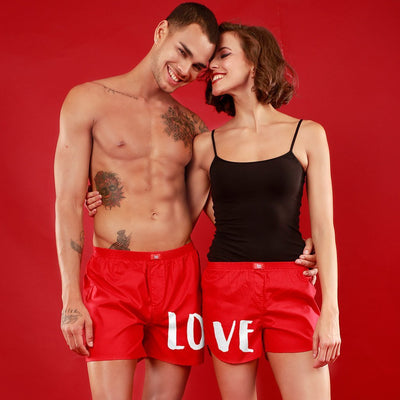 Love Combo Matching Red Couple Boxers