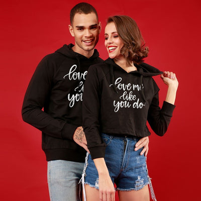 Love Me Like You Do, Matching Black Hoodie For Men And Crop Hoodie For Women