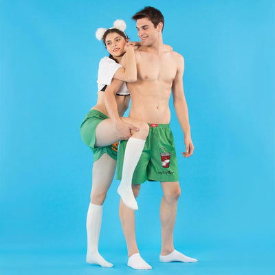Made For Each Other Twining Green Couple Boxers