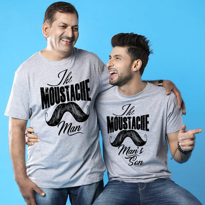 Moustache Man Dad And Son Matching Adult Tees
